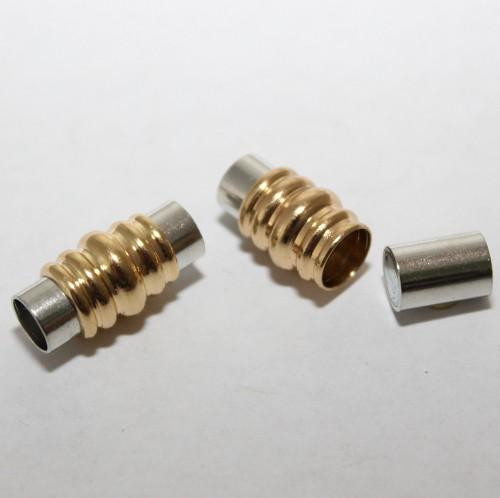Magnetverschluß Tube Farbe silber/gold Großloch 20x9,5mm 1Stk.