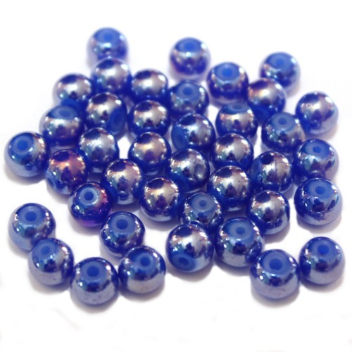 Glasperle Kugel glatt blau schimmernd 6mm 40Stk.