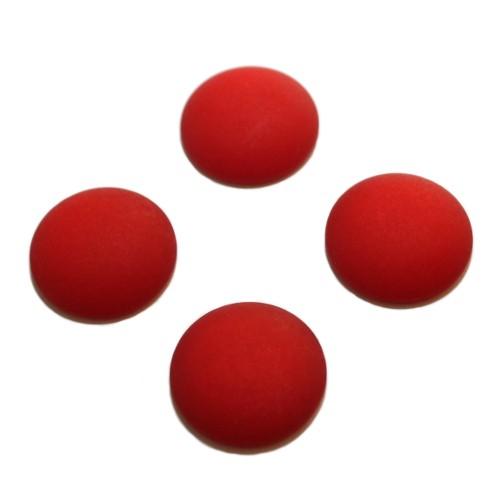 Cabochon Polaris rund flach matt rot 16mm 4 Stück