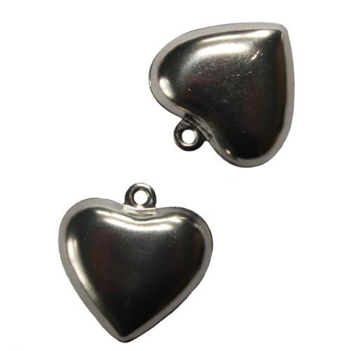 Metall Anhänger Herz Tracht silber 25x25mm 2Stk.