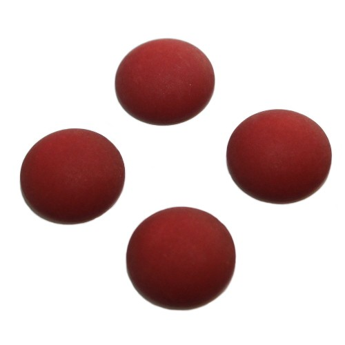 Cabochon Polaris rund flach matt rubin rot 12mm 4 Stück