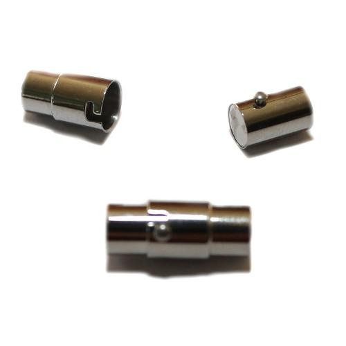 Magnet - und Dreh Verschluß Edelstahl rund silber 17x7mm 1Stk.