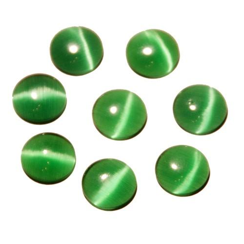 Cabochon Halbedelstein Katzenauge Cat-Eye dunkel grün 12mm 8 Stück