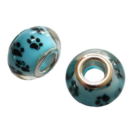 Charms Glas Silber transparent Katze Hund Bär blau mit schwarzer Pfote Tatze 14x10mm 2Stk.