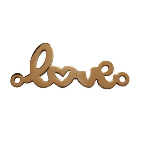 "Edelstahl Verbinder Link ""love"" Liebe gold 30x11mm 1Stk."