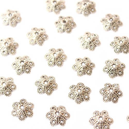 Metallperle Endkappe Perlenkappe Blume Antiksilber 10x3mm 25 Stk.