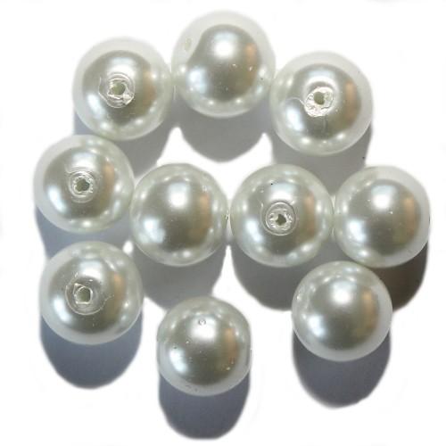 Glas Wachsperle Kugel glatt weiß glänzend 12mm 10Stk.