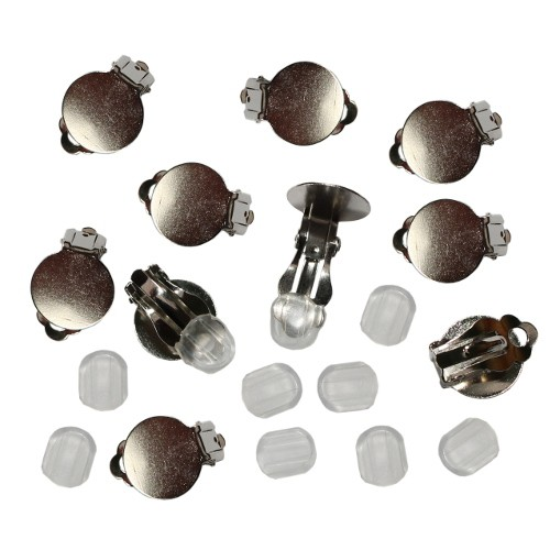 Ohrclips mit Platte silber 15mm + transparente Pads 10Stk.