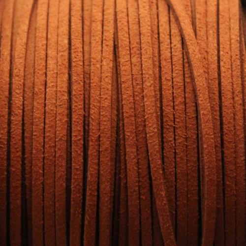 Wildlederimitat weich flach 3x1,5mm Microfaser braun 5 m lang