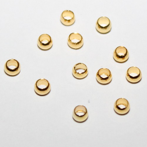 Metallperle Quetschperle Crimp Kugel vergoldet 3mm 100Stk.