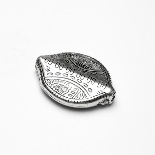Acrylperle in Metalloptik Spacer Scheibe groß oval flach Muster Antiksilber 31x22mm 6Stk.