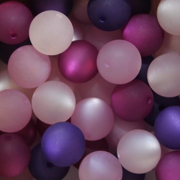 Polaris Kugel Perle matt 8mm Mix 20 Stück rosa / violett - Töne