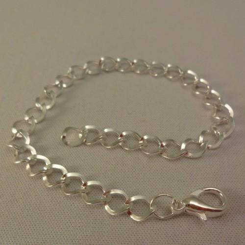 Armband Bettelarmband zarte Glieder gewellt versilbert 21 cm 1Stk.