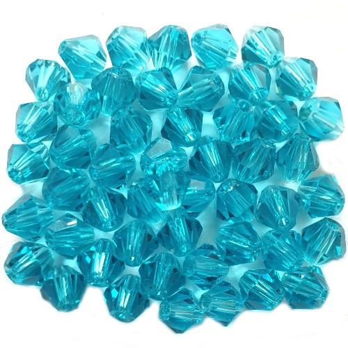 Glasperle Kristallglas Rhombe Bicone Doppelkegel facettiert türkis glänzend 4x4mm 50Stk.