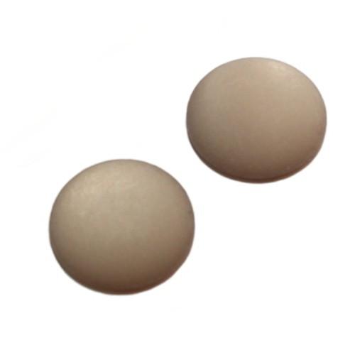 Cabochon Polaris rund flach matt grau 25mm 2 Stück