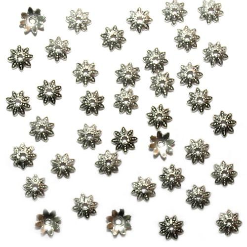 Metallperle Endkappe Perlenkappe Blume Antiksilber 7x2mm 40 Stk.