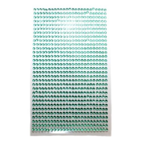 Strass Steine 3mm rund auf Folie zum Kleben grün ca. 775 Stk.140x85mm