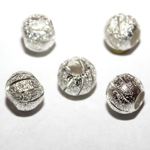 Metallperle Spacer Kugel mit Querrillen Stardust silber mit Diamanteffekt(tussi-silber)10mm 5Stk.