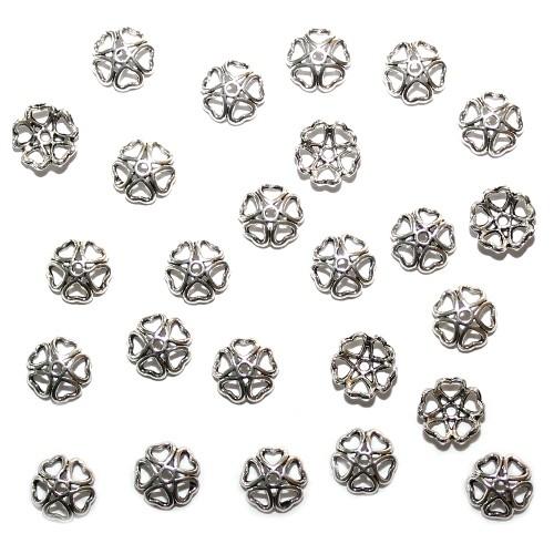 Metallperle Endkappe Perlenkappe Herz Antiksilber 10x3mm 25 Stk.