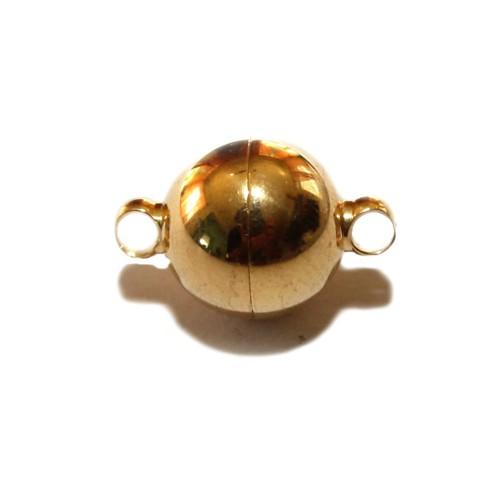 Magnetverschluß Edelstahl Kugel mit Öse gold 19x12mm 1Stk.