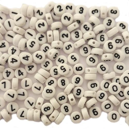 Buchstaben Perlen Acryl rund flach 7x4mm Zahlen 150Stk. jede Zahl 15 mal
