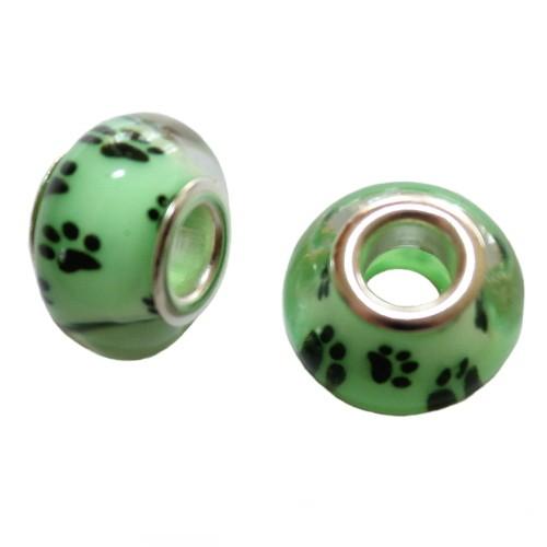 Charms Glas Silber transparent Katze Hund Bär grün mit schwarzer Pfote Tatze 14x10mm 2Stk.