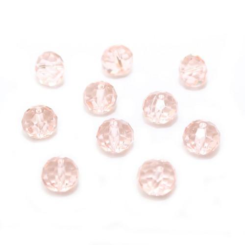 Glasperle Kristallglas Rhombe Bicone facettiert dunkel rosa glänzend 10x8mm 10Stk.