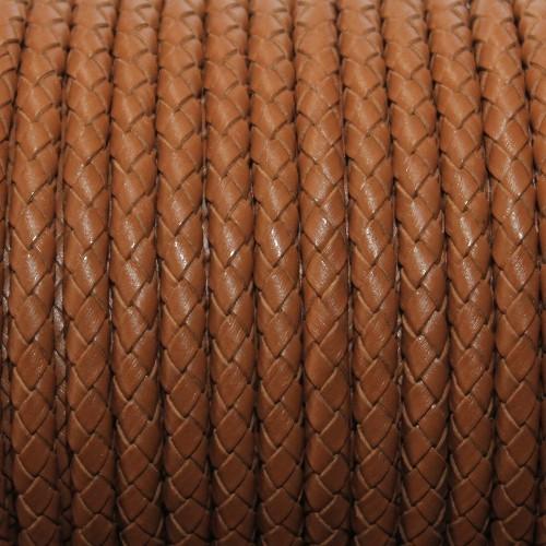 Lederband echt Leder glatt geflochten braun 5mm 1m lang