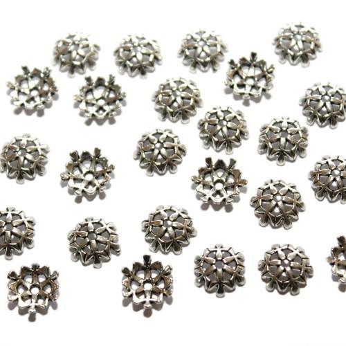 Metallperle Endkappe Perlenkappe Blume antik silber 10x4mm 25Stk.