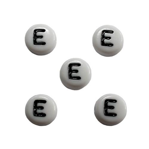 Buchstaben einzeln rund flach Acryl weiß 7x4mm 5 Stk.