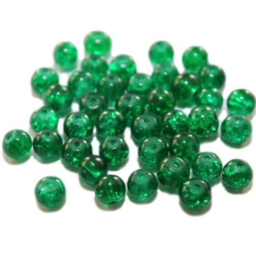 Glasperle Crackle Kugel glatt grün 6mm 40Stk.