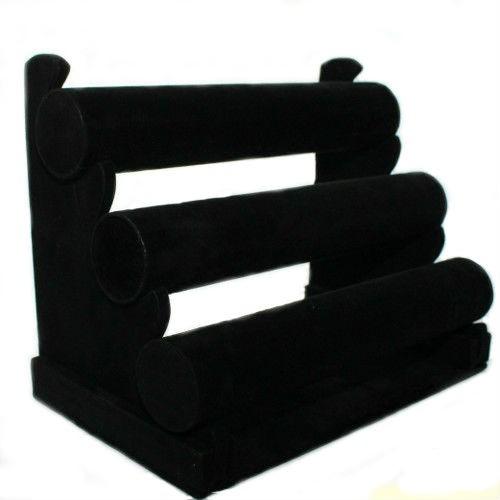Schmucktreppe zur dekorativen Schmuckpräsentation für Armketten schwarz samt 30 x 23 cm 1 Stk.