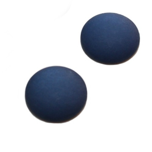 Cabochon Polaris rund flach matt nacht - blau 25mm 2 Stück