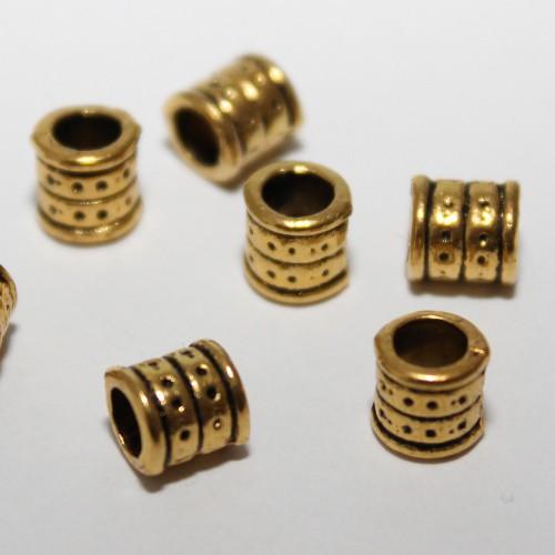 Metallperle Spacer Charms Tube geschnitzt Antik gold Großloch 6x6,2mm 10Stk.