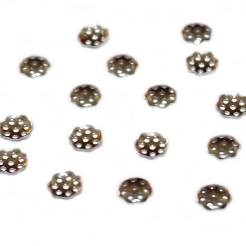 Metallperle Edelstahl Endkappe Perlenkappe Blume silber 6mm 25Stk.