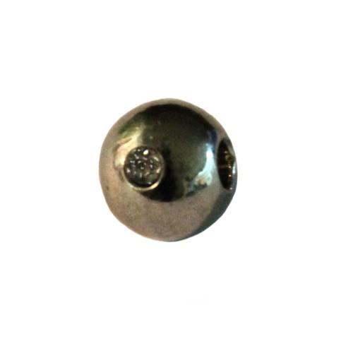 Metallperle Edelstahl Spacer Kugel glatt silber mit 2 Strasssteinen 8mm 1Stk.