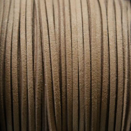 Wildlederimitat weich flach 3x1,5mm Microfaser beige 5 m lang
