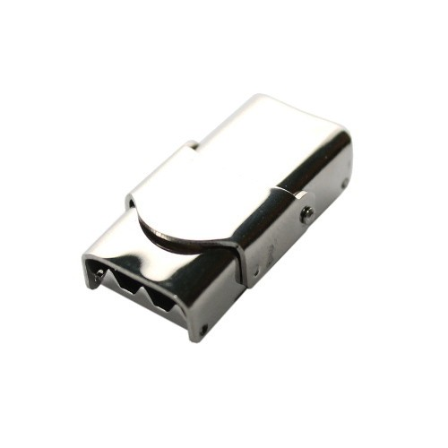 Edelstahl Steckverschluß mit Sicherung verstellbar silber 25x14,5mm 1Stk.
