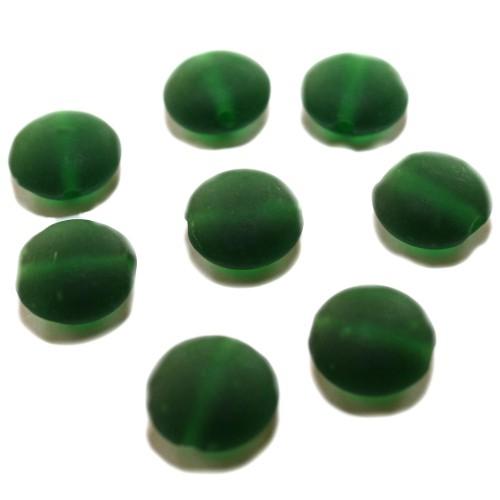 Glasperle rund flach matt gefrostet grün 15x8,5mm 8Stk.