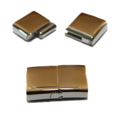 Magnetverschluß (+Schiebeverschluß) Edelstahl flach silber 28x18mm 1Stk.