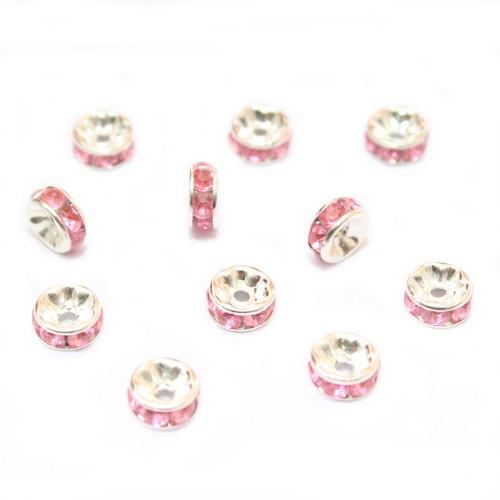 Metallperle Spacer Rondelle versilbert mit Strass pink rosa 8mm 10Stk.