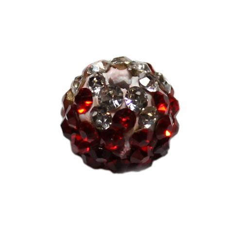 Shamballa 10 mm Kugel tricolore dunkel rot 1Stk.