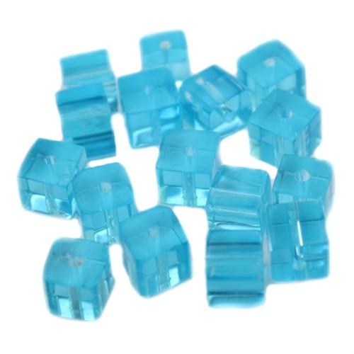 Glasperle Würfel glatt blau 8x8mm 15Stk.