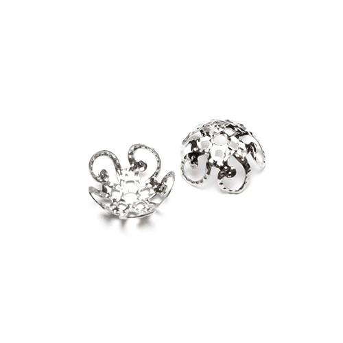 Metallperle Endkappe Perlenkappe Blume silber 10mm 30Stk.