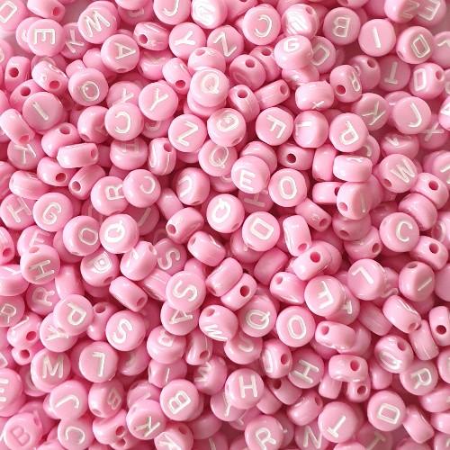Buchstaben rund flach Acryl rosa 7x4mm mix 300Stk.