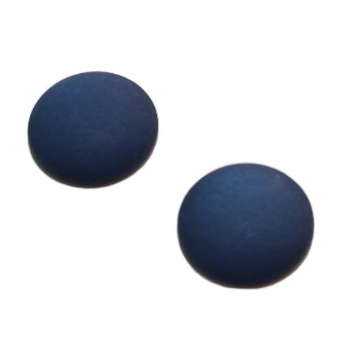 Cabochon Polaris rund flach matt nacht - blau 20mm 2 Stück