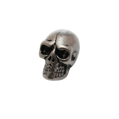 Edelstahl Metallperle Schädel Totenkopf Skull Großloch antiksilber 12x7,5mm 1Stk.