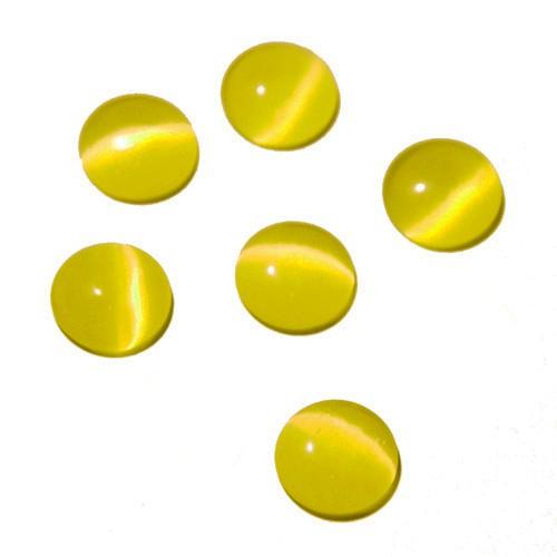 Cabochon Halbedelstein Katzenauge Cat-Eye gelb 14mm 6 Stück