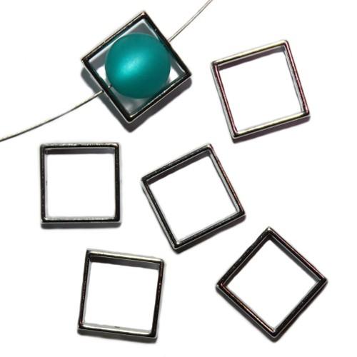 Metallperle Perlen Rahmen silber 20x20mm 6Stk.