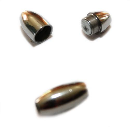 Magnetverschluß Edelstahl oval silber 15x7mm 1Stk.